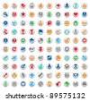 Set of one hundred multicolored buttons and icons for website interface, business designs, finance, security and leisure. Vector illustration. - stock vector