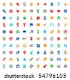 Set of one hundred multicolored icons for website interface, business designs, finance, security and leisure. Vector illustration. - stock vector