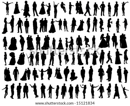 Set of One Hundred Smooth People  Silhouettes. Wedding, Travel, Tripping, Dancing, Standing, Going, Posing, Sitting. High Detail Vector Illustration.  - stock vector