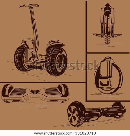 Set of one-wheeled and two-wheeled Self-balancing electric scooter vector illustrations - stock vector