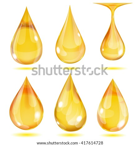 Set of opaque yellow drops on white background - stock vector