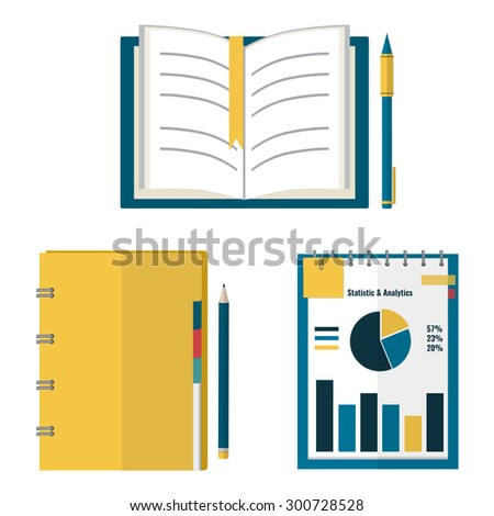 Set of open book, organizer, planner with pen and pencil. Flat design style illustration.
