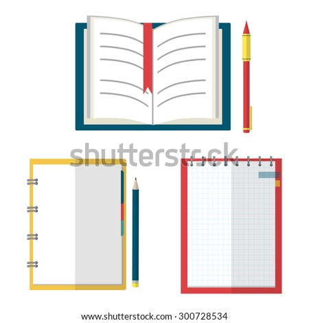 Set of open book, organizer, planner with pen and pencil. Flat design style illustration. - stock vector