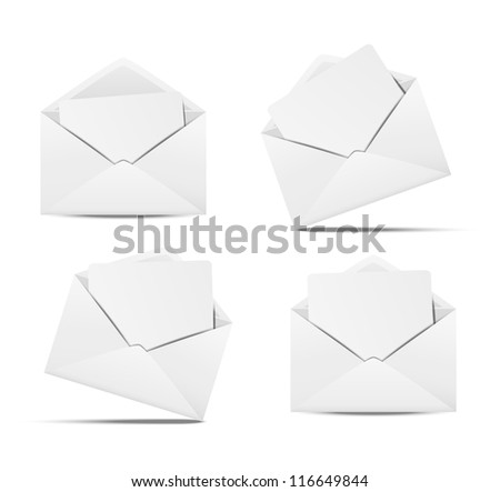 Set of open envelopes with paper - stock vector