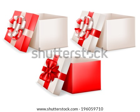 Set of open gift boxes with beautiful bows