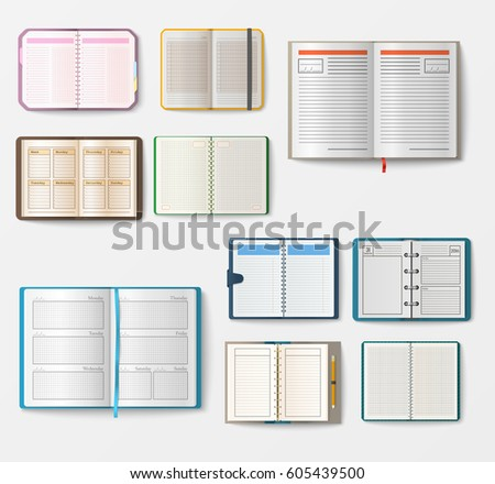 Set open realistic notebooks pages diary stock vector 610078328 set of open realistic notebooks with pages diary office sheet template booklet and blank paper education pronofoot35fo Choice Image