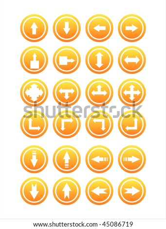 set of 21 orange arrows signs
