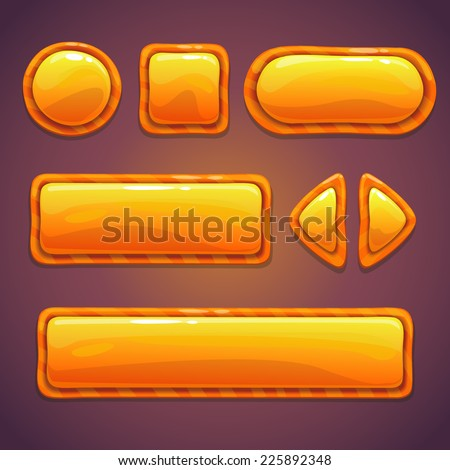 Set of orange cartoon glossy buttons, funny elements for web or GUI design - stock vector