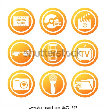 set of 9 orange cinema signs - stock vector