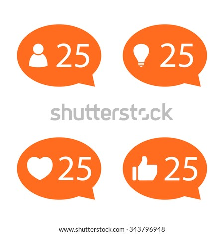 set of orange circle Like Counter Notification Icons with human, bulb, thumb up and heart icons. vector illustration. mobile device. web elements  - stock vector