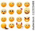Set of orange smiles. Vector illustration, isolated on a white. - stock vector