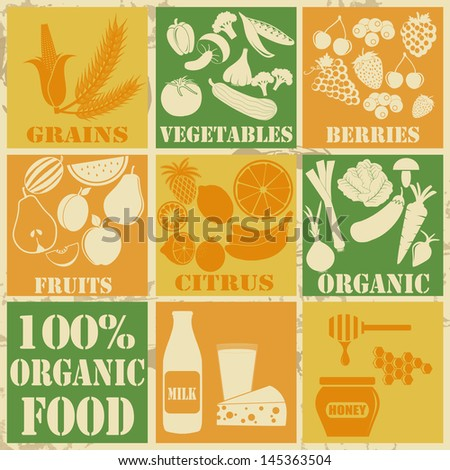 Set of 100% organic and healthy food icons on vintage background, vector illustration - stock vector