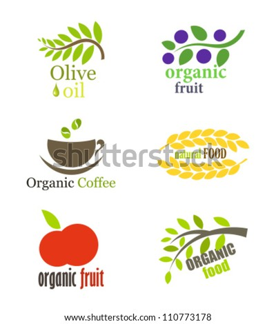 Set of organic and natural food labels or logos. Vector illustration - stock vector