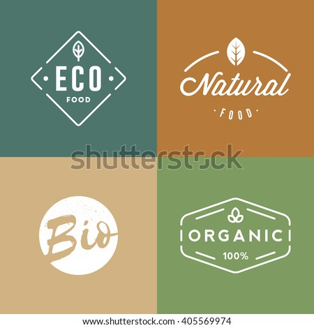 Set of organic food badges. Retro organic logo