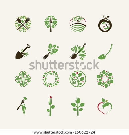 Set of organic food icons for the restaurants, food production, organic products - stock vector