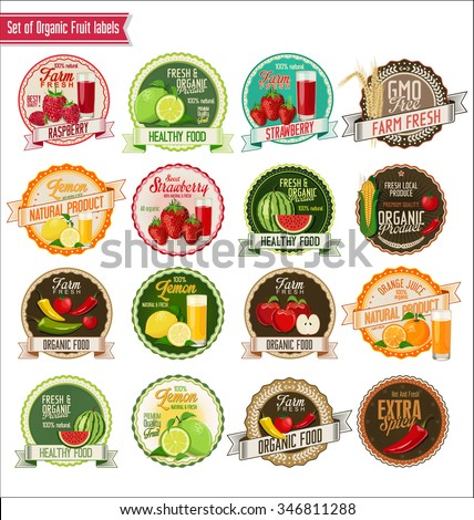 Set of organic fruit and vegetables labels collection - stock vector