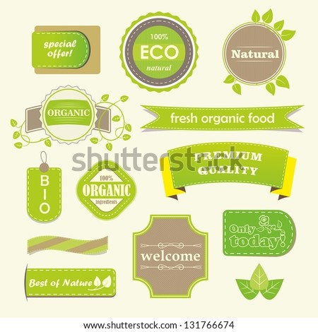 Set of organic labels and banners. - stock vector