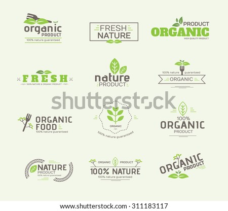 Set of Organic Product , Guaranteed Labels and Badges Vector Design illustration
