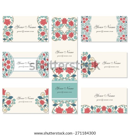 Set of oriental business cards.  - stock vector