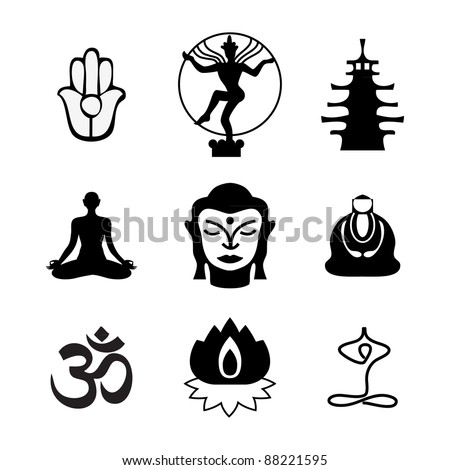 Set of Oriental icons  Templates of symbols of the Buddha  lotus    Zen Buddhist Symbols And Meanings