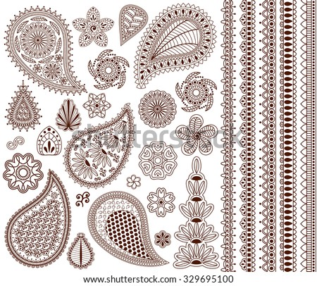 Set of oriental ornaments for henna tattoo and for your design. Plus five seamless borders. - stock vector