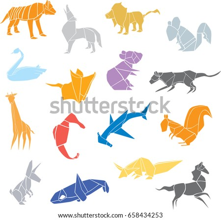 Set Of Origami Animals Silhouettes With A Lion Tiger Panther Wolf Orca