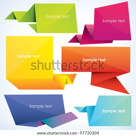 set of origami banners, vector illustration - stock vector