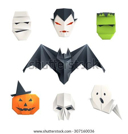 Set Of Origami Halloween Characters Mummy Vampire Zombie Bat Pumpkin