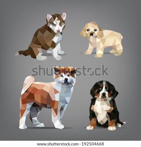 Set of origami-style dogs. vector illustration - stock vector