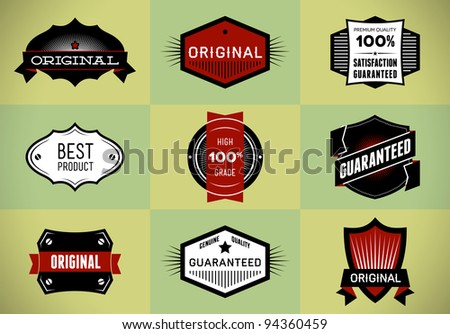 Set of Original and Premium labels - stock vector