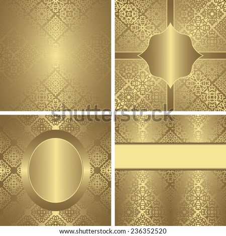 Set of original cards. Modern invitations in a gold. Vintage design                - stock vector