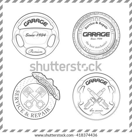 Set Original Design Emblems Automotive Business Stock Vector 2018
