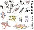 Set of original emblems for travel to Australia. Black and white vector illustration. - stock vector