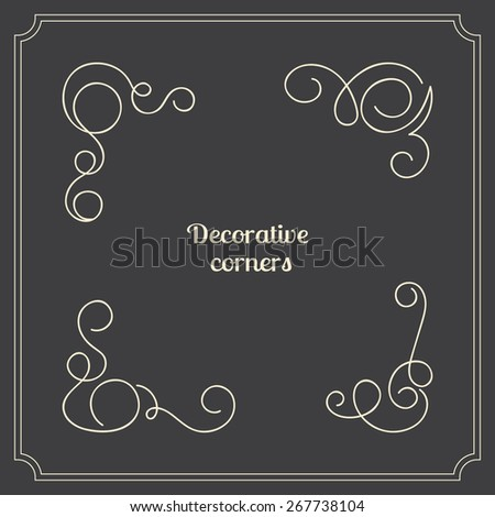 Set of original vector decorative corners. Calligraphic curly elements for page decoration borders