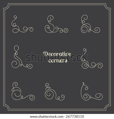 Set of original vector decorative corners. Calligraphic curly elements for page decoration borders - stock vector