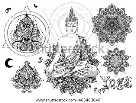 Set of Ornamental Boho Chic Style Elements. Vector Buddha illustration. Tattoo template. Buddha drawn tribal symbol collection. Hippie design elements. Coloring book for adults. - stock vector