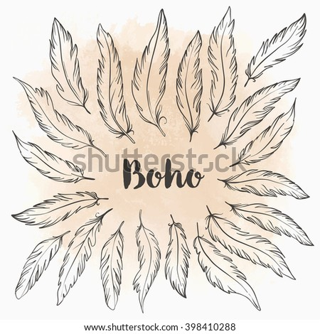 Set of Ornamental Boho Style Elements: Feathers. Vector illustration. Tattoo template. Trendy hand drawn tribal symbol collection. Hippie design elements. Coloring book pages for adults. - stock vector