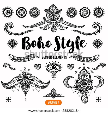 Set of Ornamental Boho Style Elements. Vector Drawing. Volume 4. - stock vector