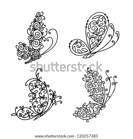 Set of ornamental butterflies for your design