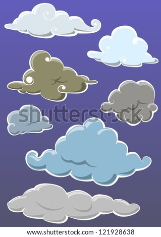 set of ornamental cloud on blue background - stock vector