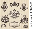 Set of ornamental DAMASK illustrations - for your design, invitation, greetings in vector - stock vector