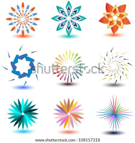 set of ornamental design elements, logos, icons - stock vector