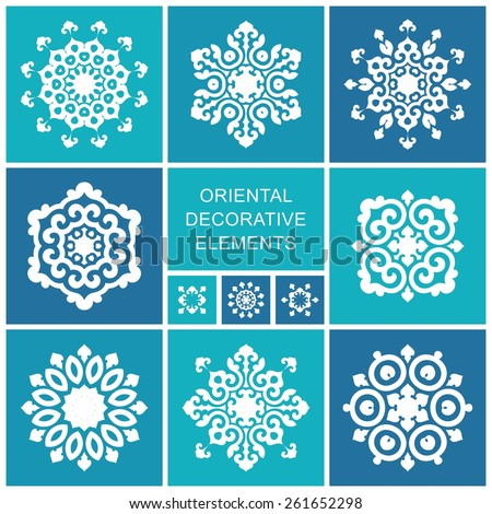 Set of ornamental elements in oriental style. Islam, Arabic, Asian motifs - stock vector