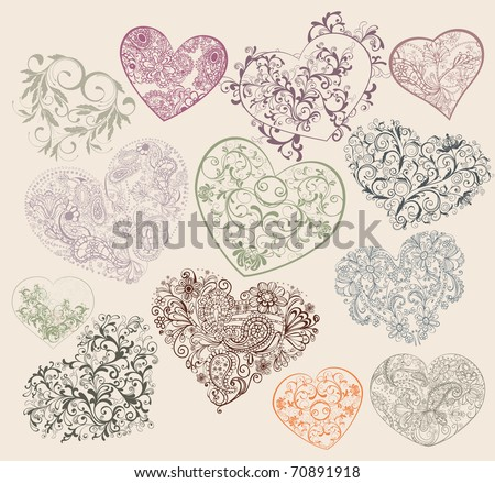 Set of ornamental heart-shapes - stock vector
