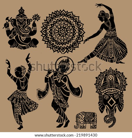 Set of ornamental Indian elements and symbols.Ganesha.Indian woman. Elephant, mask - stock vector