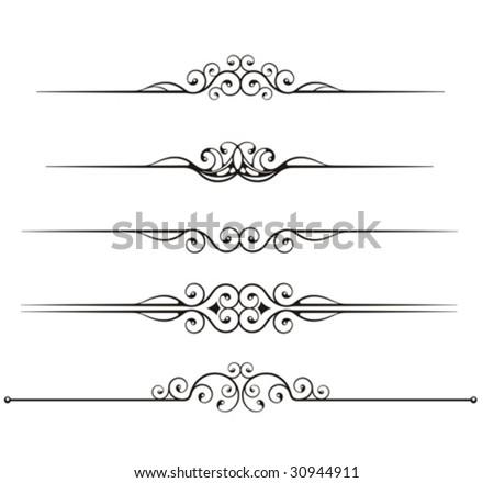 set of ornamental rule lines - stock vector