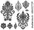 Set of ornamental vector damask illustrations. Easy to edit. Perfect for invitations or announcements. - stock vector