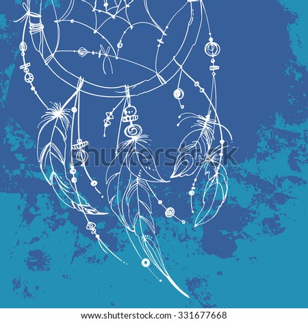 Set of ornaments, feathers and beads. Native American Indian dream catcher, traditional symbol. Feathers and beads on blue background. Vector decorative elements hippie. Coloring book for adults