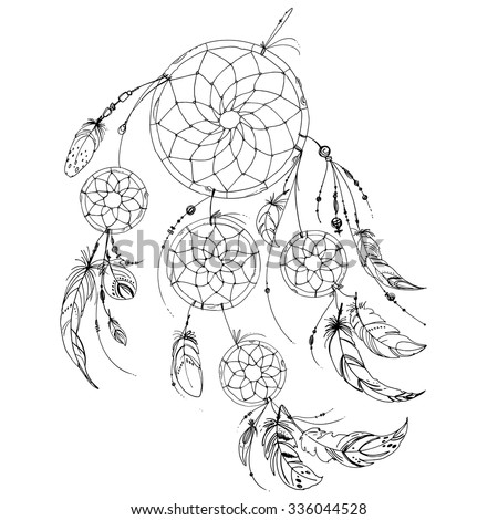 Set Of Ornaments Feathers And Beads Native American Indian Dream Catcher Traditional Symbol