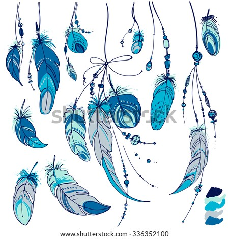 Set of ornaments, feathers and beads. Native american indian dream catcher, traditional symbol. Feathers and beads on white background. Vector decorative elements hippie. Blue color